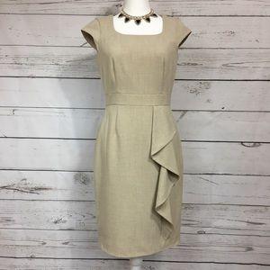 Calvin Klein | cream casual ruffle dress size 6